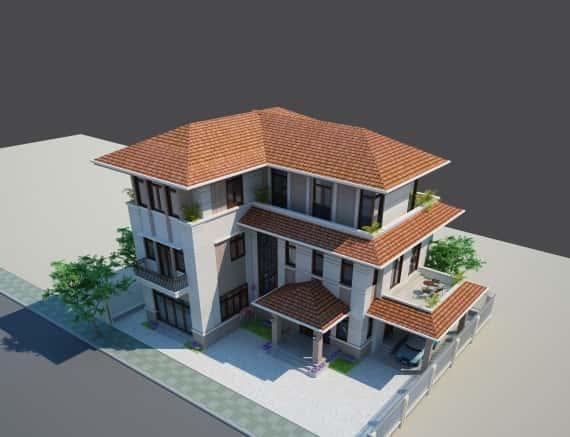 thiết kế biệt thự mái thái 3 tầng