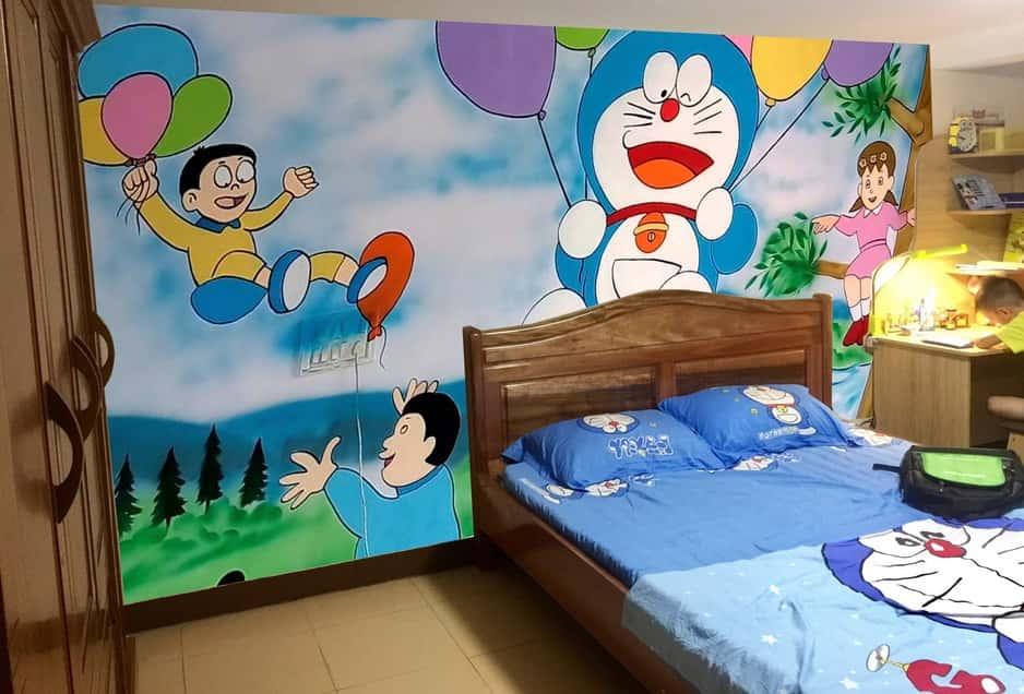 tranh tuong phong ngu doremon - Vẽ tranh tường phòng ngủ đẹp