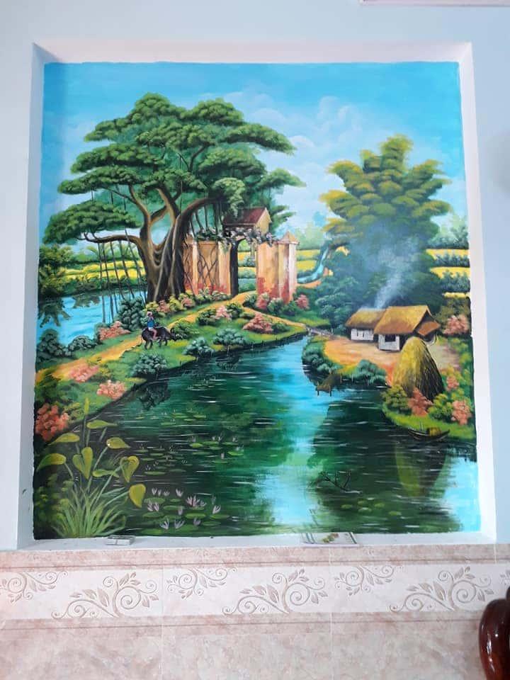 ve tranh tuong dep 33 - Vẽ tranh tường phòng khách đẹp