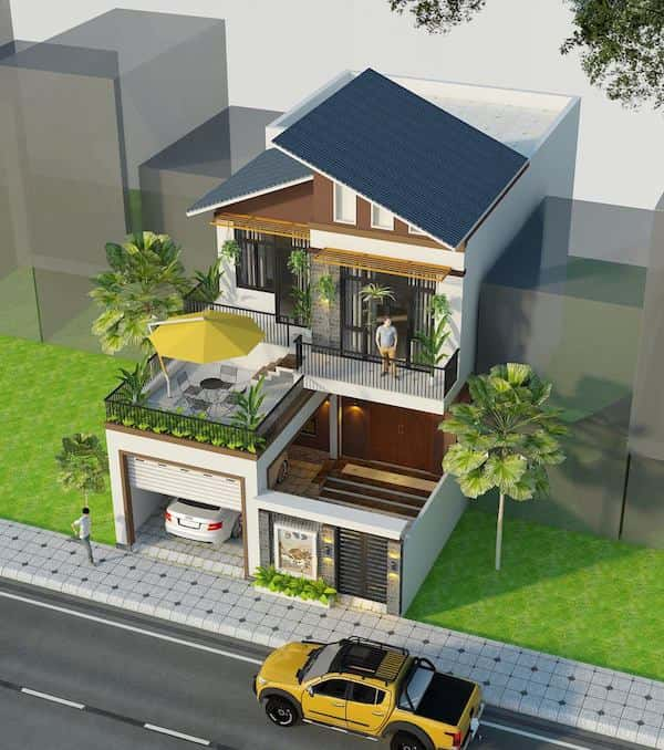 thiết kế nhà 2 tầng 8x10m
