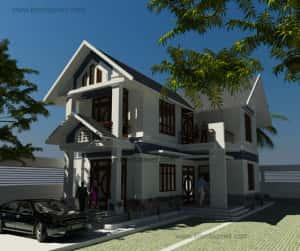 biet thu 2 tang chu l dep 3 300x251 - Tư vấn mẫu thiết kế biệt thự 3 tầng đẹp mặt tiền 9m