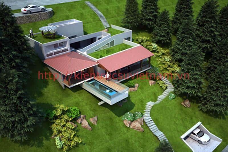 biet thu vuon dep 03 1 - Xây biệt thự sân vườn 450m đẹp với kiến trúc hiện đại