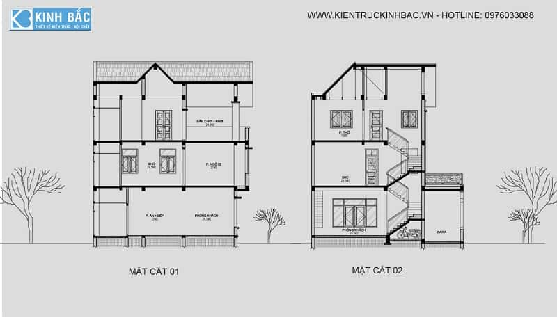 thiết kế nhà 2 tầng 5x12m