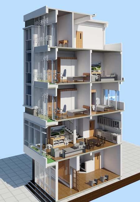 nha 5 tang dep 4 - Thiết kế nhà 4 tầng đẹp