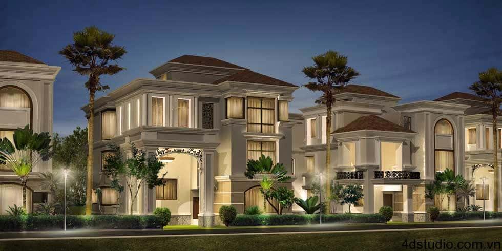 phoi canh biet thu co dien goc 1 - Mẫu thiết kế nhà 5 tỷ đẹp