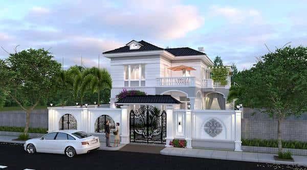thiet ke biet thu 2 tang view1 - Bộ sưu tập mẫu thiết kế biệt thự phố đẹp và sang trọng