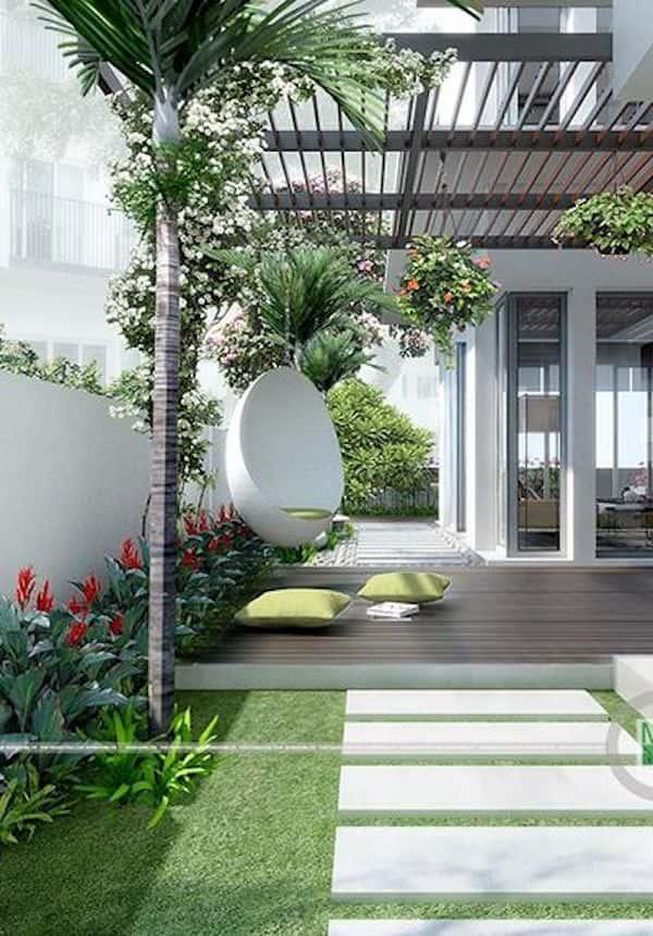 thiet ke biet thu vuon 1 - Xây biệt thự sân vườn 450m đẹp với kiến trúc hiện đại