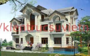 Biet thu co dien 3 tang 300x188 - Mẫu thiết kế biệt thự đẹp ở Bắc Giang