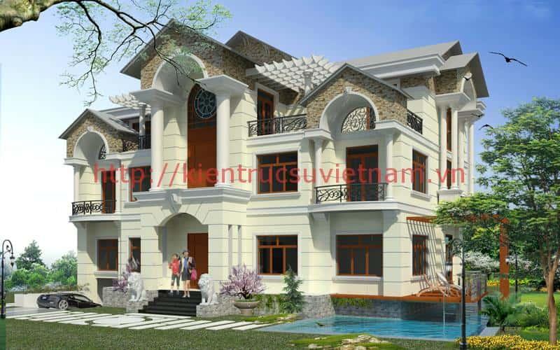 Biet thu co dien 3 tang - Thiết kế và thi công biệt thự 2 tầng tân cổ điển đẹp và chuyên nghiệp