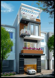 Nha ong 3 tang co tum dep 213x300 - thiết kế nhà 3 tầng 4x12m