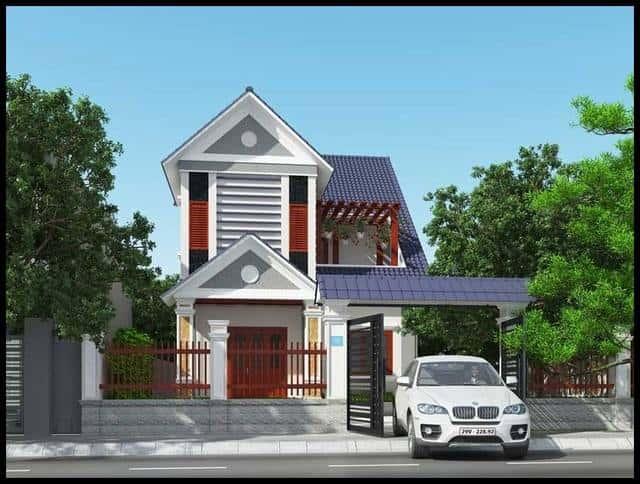 biet thu mini 2 tang mai thai dep 8m - Bộ sưu tập mẫu thiết kế biệt thự phố đẹp và sang trọng
