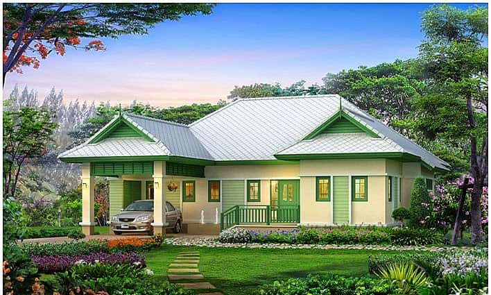 biet thu vuon 1 tang 05 - Tổng hợp các mẫu biệt thự 1 tầng đẹp nhất Việt Nam