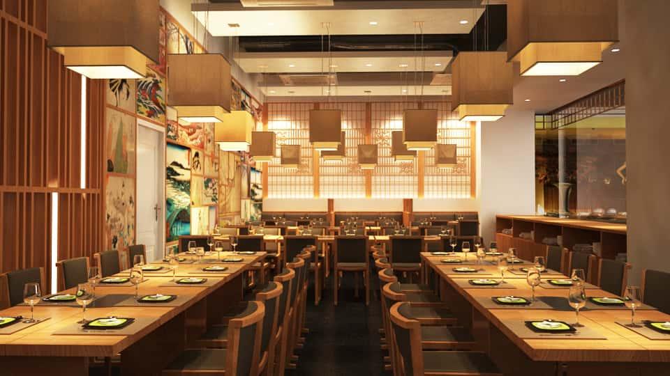 mau thiet ke nha hang dep thiet ke noi that nha hang nhat ban 2 - Thiết kế thi công nhà hàng đẹp sang trọng
