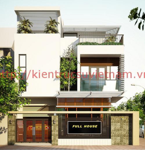 nhà phố mặt tiền rộng 9m op - Thiết kế nhà phố mặt tiền rộng 9m