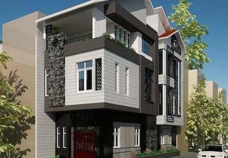 Bản thiết kế nhà 2 tầng 2 mặt tiền