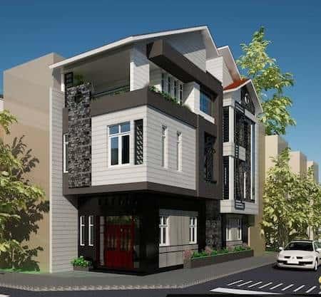 nha 2 mat tien dep 1 - 45 Mẫu nhà đẹp hai mặt tiền với kiến trúc hiện đại