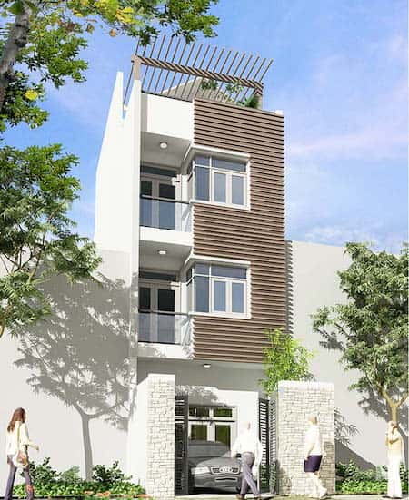 nha co thang may 2a - 20 Mẫu thiết kế nhà ống có thang máy đẹp với kiến trúc hiện đại
