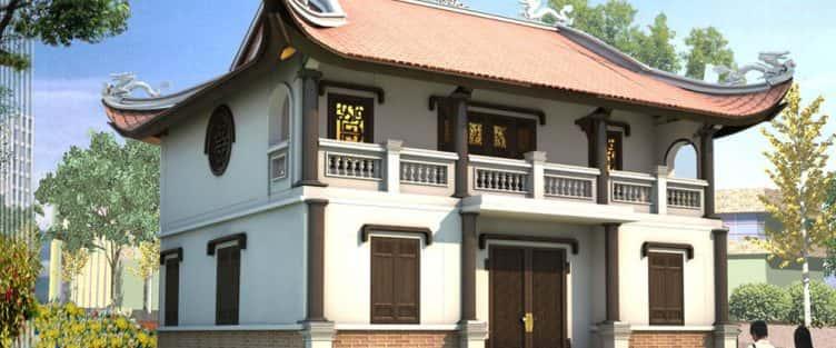 Thiết kế nhà thờ (nhà từ đường) 2 tầng kết hợp để ở