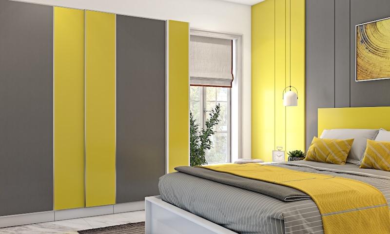 phong ngu mau vang 2021 yellow and grey with modular furniture - Thiết kế nội thất phòng ngủ đẹp