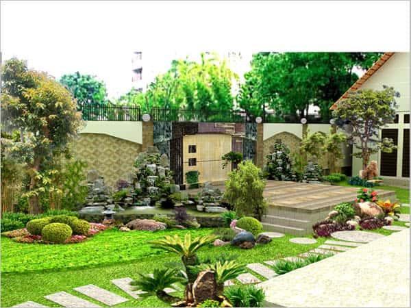 san vuon tieu canh 3 - Xây biệt thự sân vườn 450m đẹp với kiến trúc hiện đại