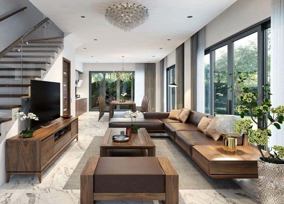 sofa go phong khach - Thiết kế nội thất biệt thự đẹp sang trọng