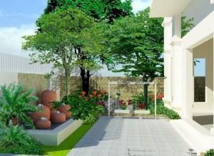 tcnp sân vườn nhà phố 300x219 - Tư vấn thiết kế sân vườn tiểu cảnh hòn non bộ đẳng cấp