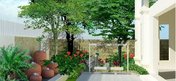 Thiết kế nhà vườn 2 tầng trên đất 9 x 30 m