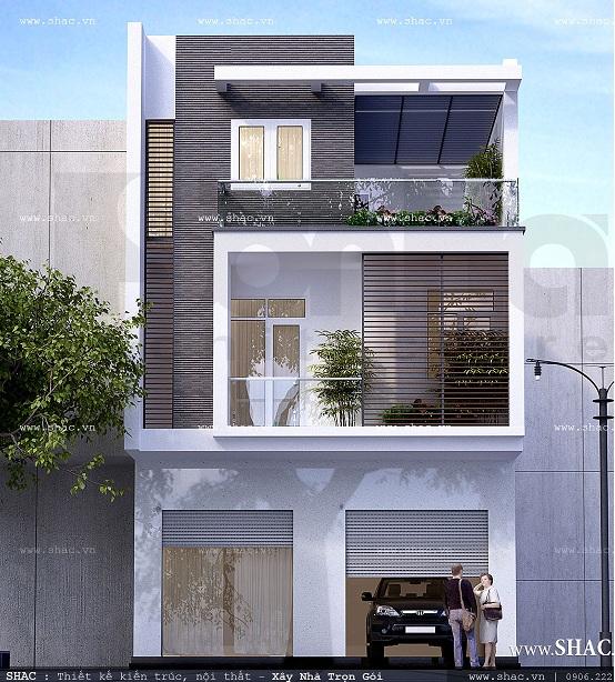 thiết kế nhà 3 tầng mặt tiền rộng 10m