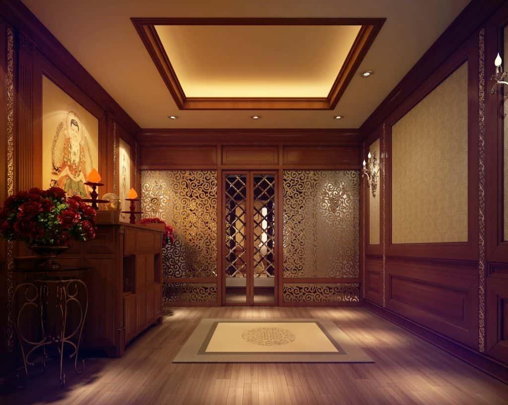 thi cong noi that phong tho bang go 2 - Thiết kế nội thất phòng thờ