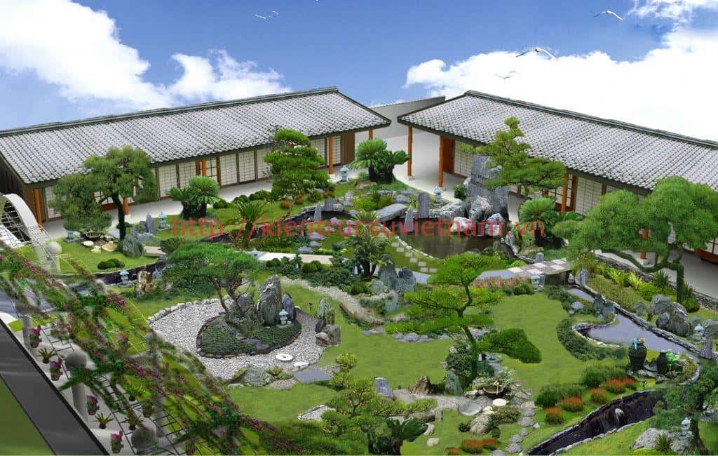 thiet ke biet thu phong cach nhat thiet ke canh quan3 - Thiết kế biệt thự kiểu nhật đẹp có sân vườn