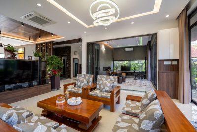 thiet ke noi that phong khach biet thu hien dai DHS06418 400x267 - Kinh nghiệm lựa chọn sofa gỗ đẹp sang cho căn phòng phù hợp