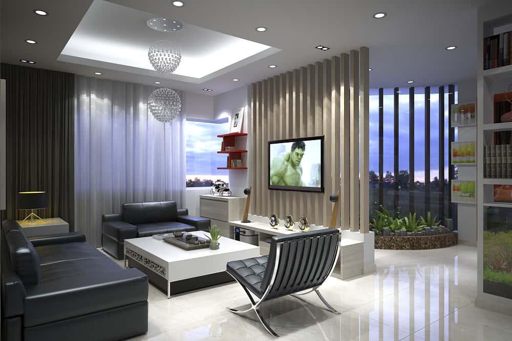 thiet ke noi that phong khach lien phong bep rong dep 4 - Thiết kế nội thất phòng khách - 4 bước đơn giản tạo nên không gian đẹp