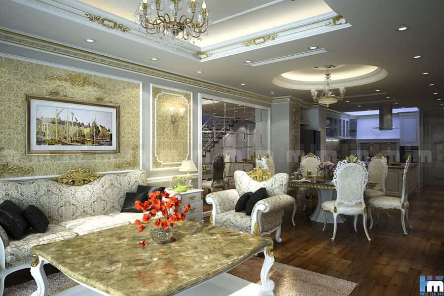thiet ke noi that phong khach phong bep va phong an 1 - Thiết kế nội thất phòng khách đẹp