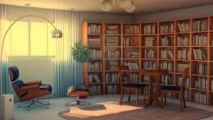 thiet ke phong doc sach sd 300x169 - Tư vấn thiết kế phòng làm việc kết hợp với đọc sách