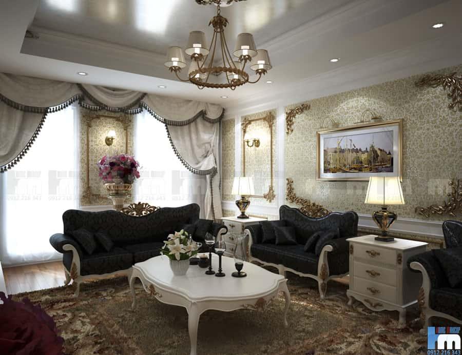 thiet ke phong khach rong rai sang trong 2 - Thiết kế nội thất phòng khách đẹp