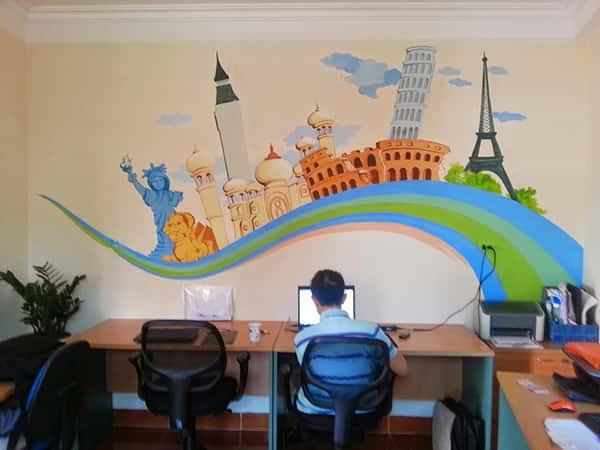 tranh tuong van phong dep tai ha noi - Vẽ tranh tường văn phòng đẹp