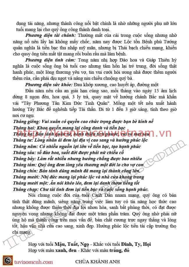 tu vi 2016 canh dan nam mang 12 - Tử vi tuổi Canh Dần 1950 Nam +  Nữ