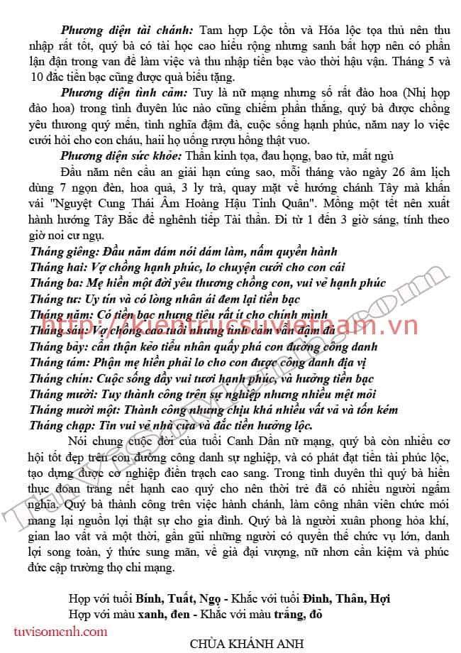tu vi 2016 canh dan nu mang 12 - Tử vi tuổi Canh Dần 1950 Nam +  Nữ