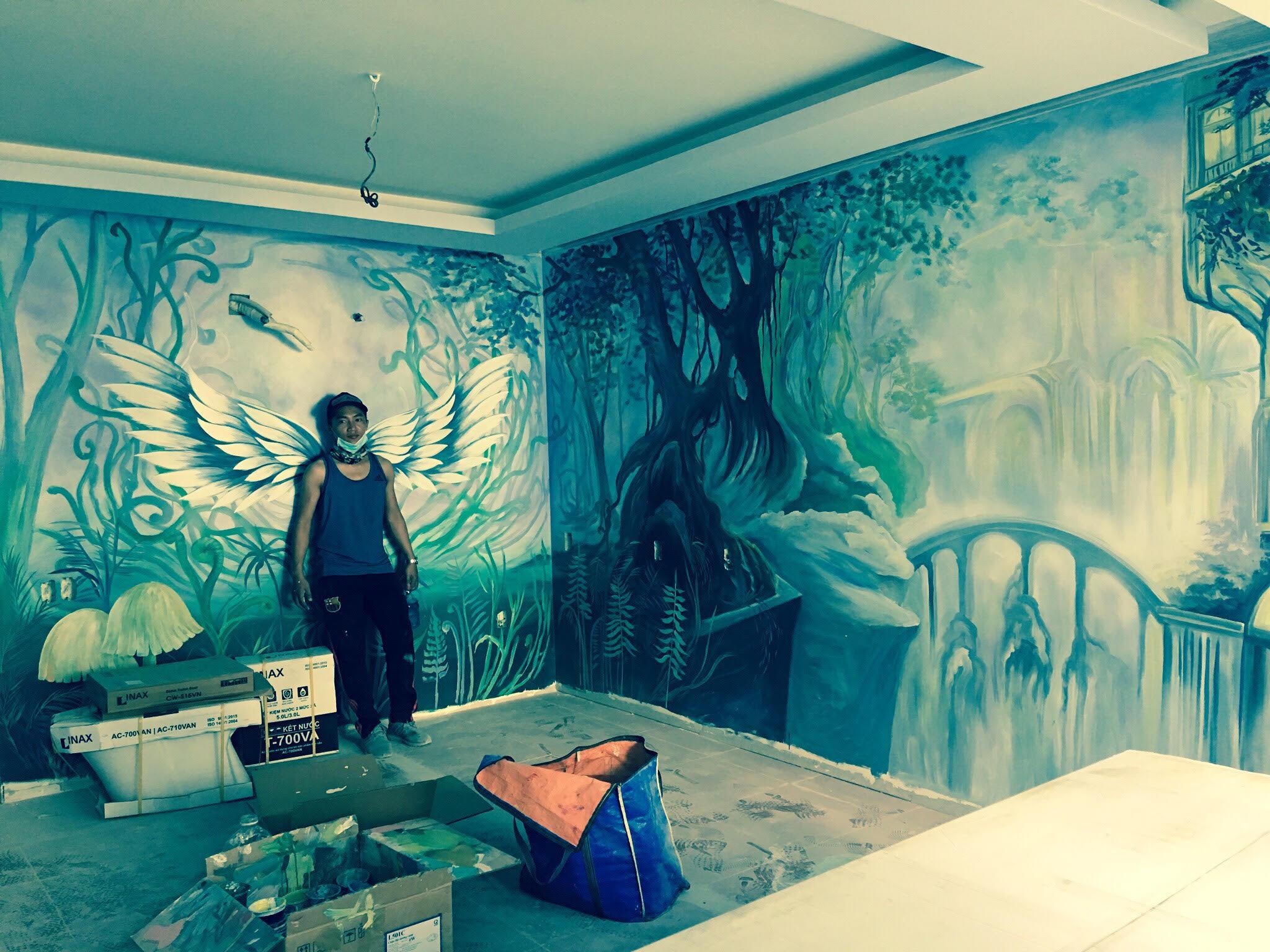 vẽ tranh tường cho nhà hàng khách sạn