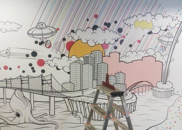 ve tranh tuong dep van phòng phong1 - Vẽ tranh tường văn phòng đẹp