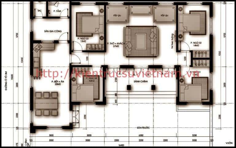 Bặt bằng biệt thự 1 tầng kiểu pháp