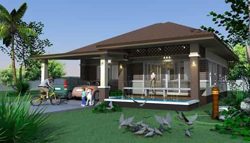 biet thu 1 tang 3 phong ngu BT126715 - Tổng hợp các mẫu biệt thự 1 tầng đẹp nhất Việt Nam