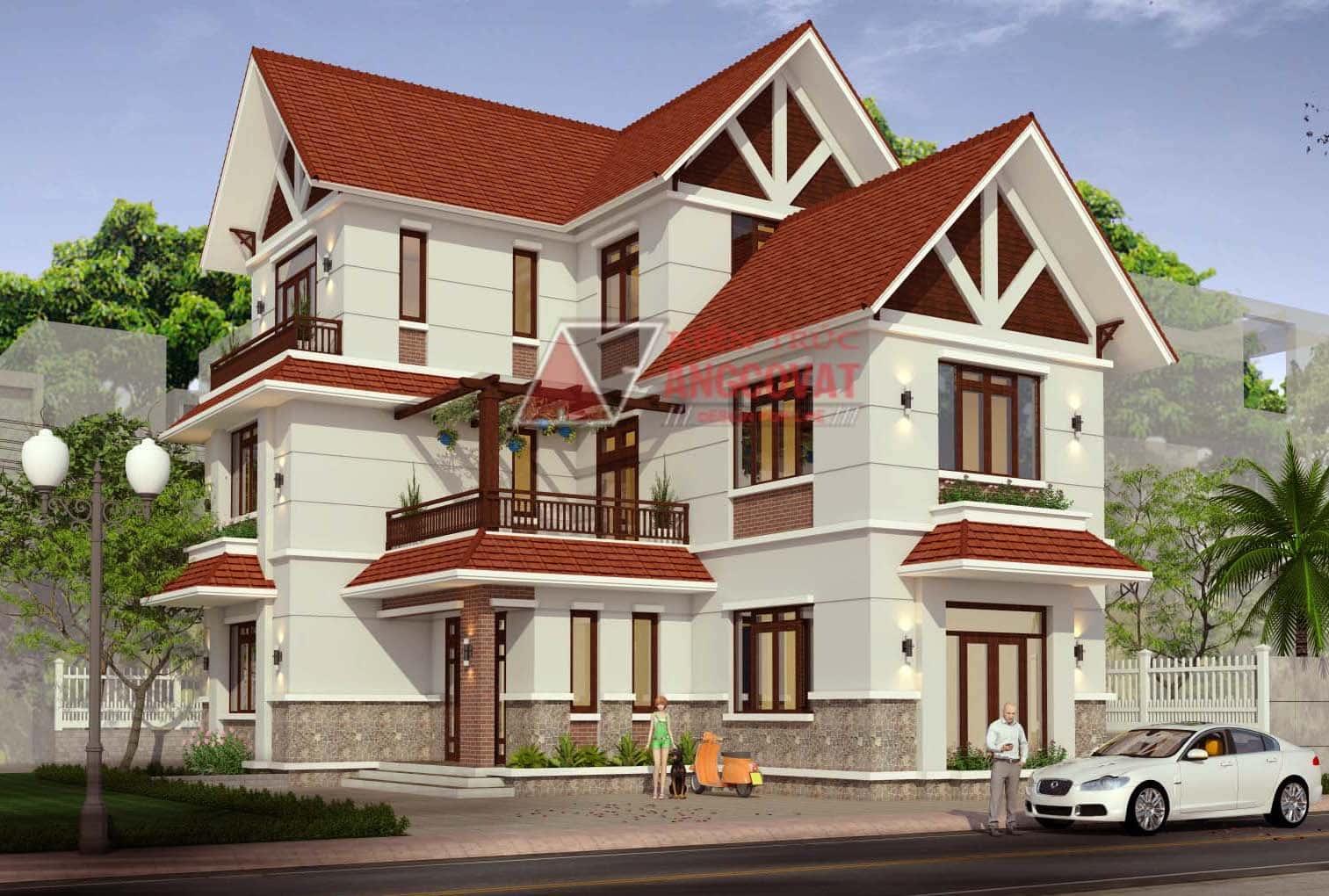 cac mau nha hinh chu l 3 tang 1 - 25 Mẫu thiết kế nhà mái ngói đẹp được nhiều người ưa thích