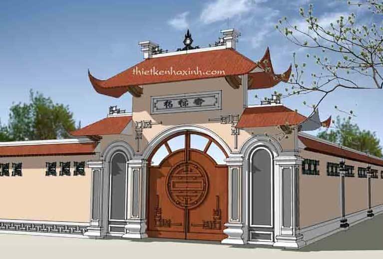 cong nha tho ho dep ta001a - Thiết kế nhà thờ họ Vũ Hải Dương