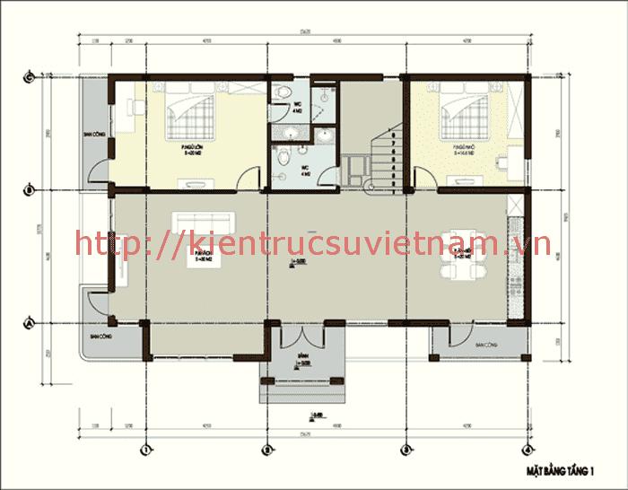 mat bang biet thu 2 tang - Bộ sư tập 60 Mẫu thiết kế biệt thự phố 2 tầng đẹp sang trọng