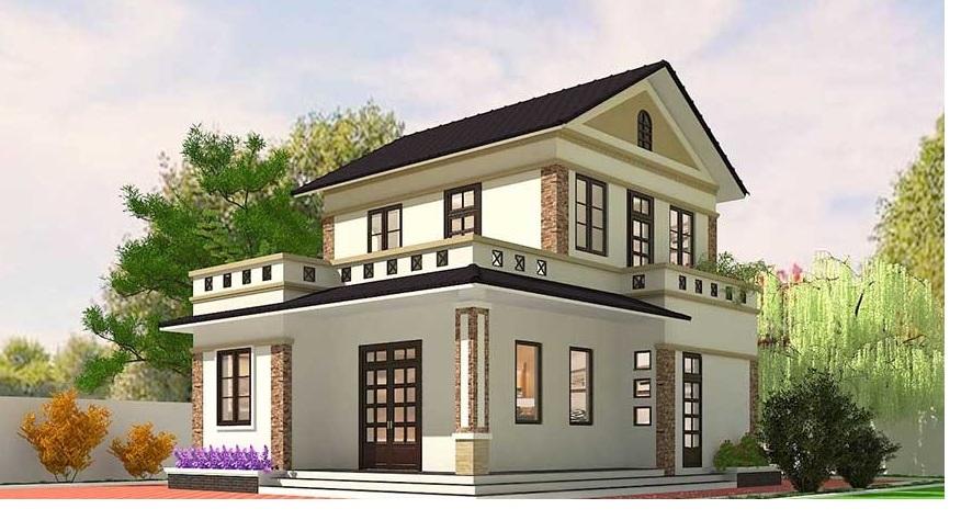 nhà 2 tầng 8x10m dep 2 tang mai thai 8x10m - thiết kế nhà 2 tầng 8x10m