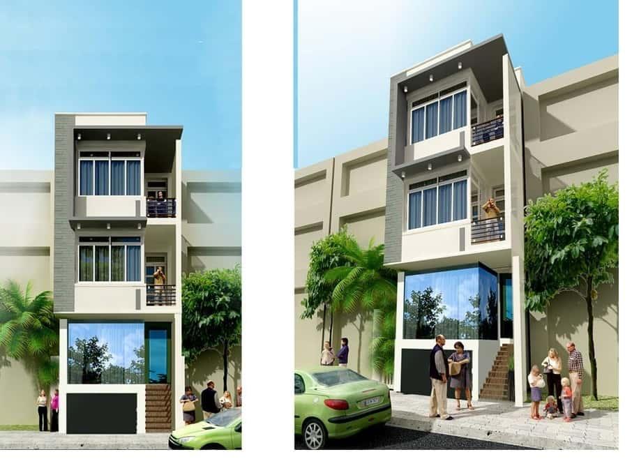 nha 3 tang duoi 1 ty phoi canh nha pho 4x18m - Tư vấn thiết kế nhà 3 tầng 5x20m2 tại Đà Nẵng