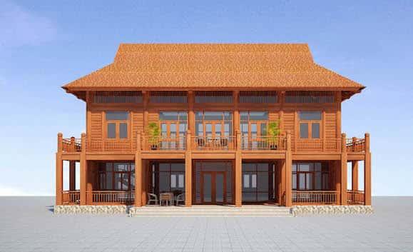 phoi canh mat tien - Thiết kế và thi công nhà gỗ đẹp