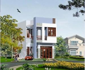 phoi canh nha pho 2 tang nhà 2 tầng 5x16m 300x246 - Mẫu thiết kế nhà 5x16m đẹp