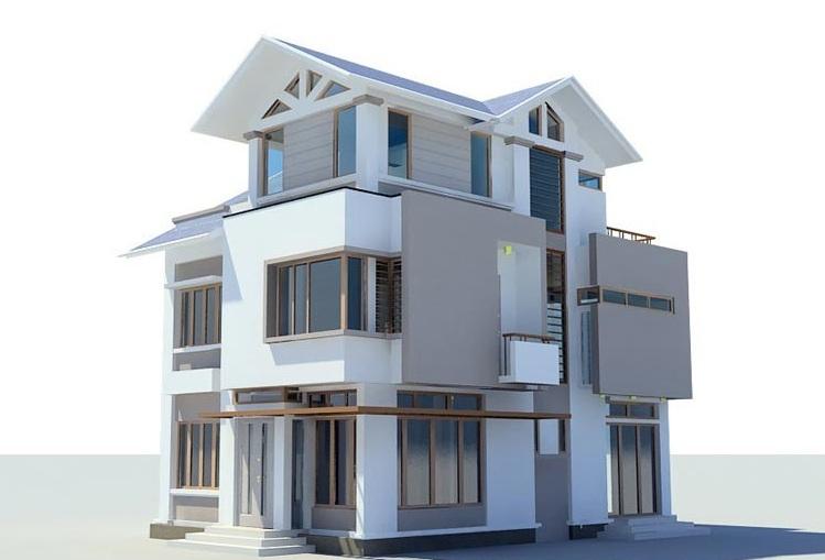 thiết kế nhà 8x14m biet thu 3 tang 8x14m 1 - Thiết kế nhà 3 tầng đẹp